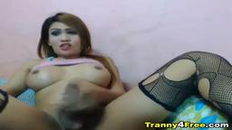 Busty Tranny Strokes her Big Hard Dick