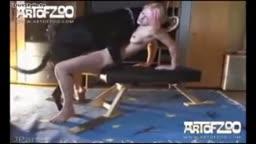 Novinha abrindo a buceta pro cachorro foder