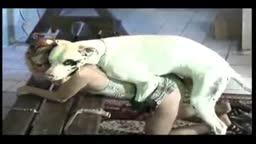 Puta loira dando pro cachorro