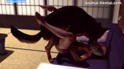 Zoofilia 3D loira dando pro cachorro
