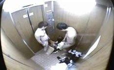 Menina fodida em um elevador por dois caras