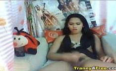 Pretty Tranny Jerks Off and Cums on her Hands