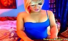 Tranny Blonde Jerking her Cock