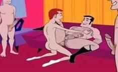 Desenho de sexo gay com todos enfiando no cu
