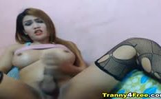 Seductive Tranny Strokes her Big Hard Dick