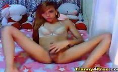 Cute Asian Tranny Strips and Masturbates