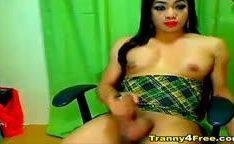 Horny Tranny Strokes her Huge Cock
