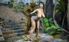 Linda garota hentai 3D fodida por monstro pau enorme